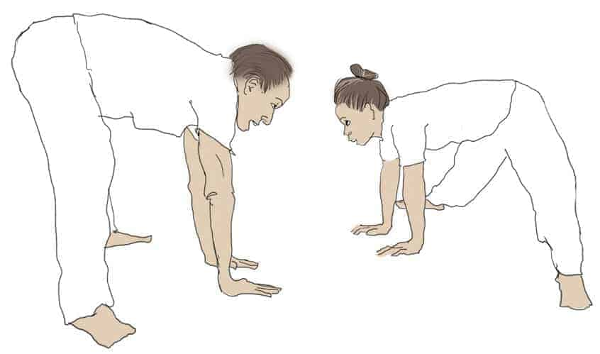 illustration of two people exercise