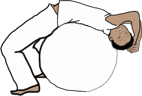 illustration of man over stability ball bioenergetic exercise